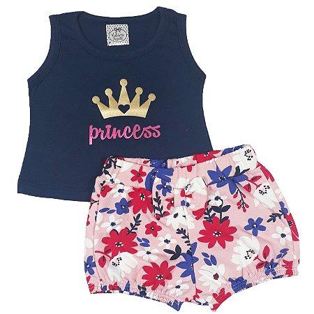 Conjunto Bebê Regata Princess + Shorts Floral