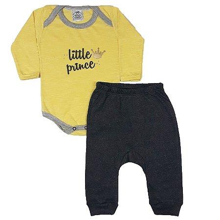 Conjunto Bebê little Prince Amarelo + Calça Ribana
