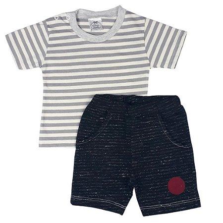 Conjunto Bebê Camiseta Listras + Bermuda