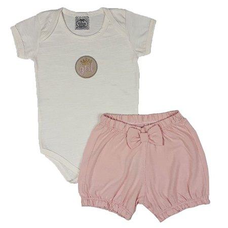 Conjunto Bebê Body Girl + Shorts Rosa