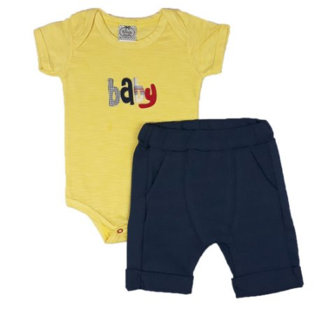 Conjunto Bebê Body Baby Amarelo + Bermuda Saruel