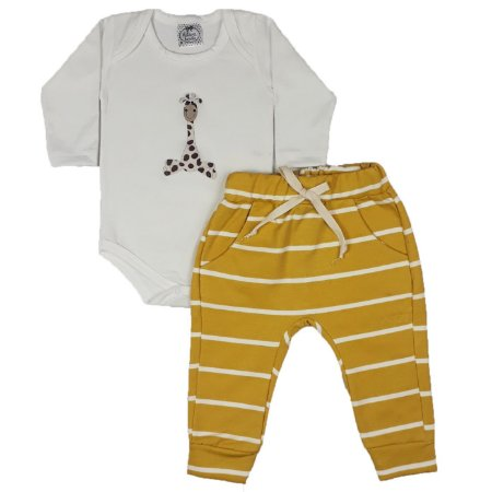 Conjunto Bebê Body Giraffa + Calça Listrada Amarela