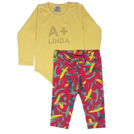 Conjunto Infantil A + Linda com Legging Estampada