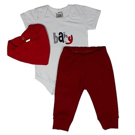 Conjunto Bebê Body Baby + Calça + Bandana
