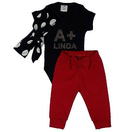 Conjunto Bebê Body A + Linda Preto Com  Calça + Turbante