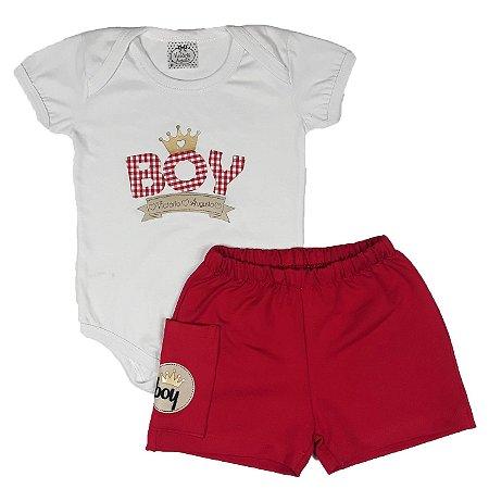 Conjunto Bebê Boy Branco + Shorts Vermelho