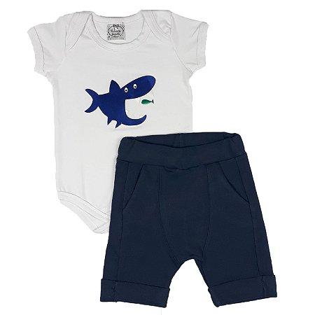 Conjunto Bebê Tubarão Azul Marinho