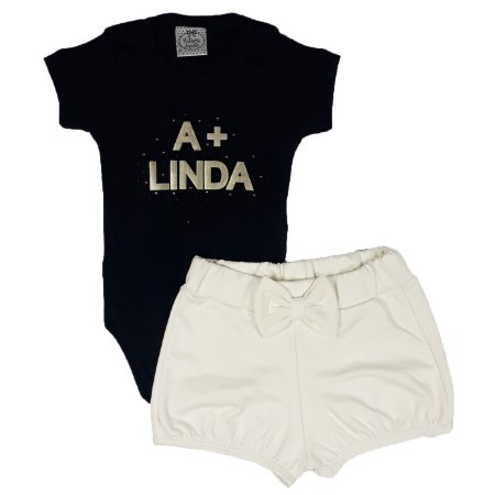 Conjunto Bebê Body Preto A + Linda Com Shorts