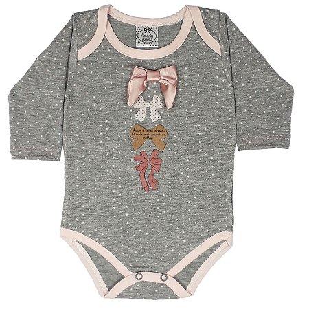 Body Bebê Laços Cinza