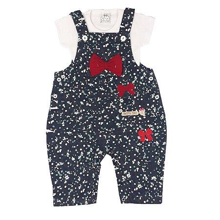 Jardineira Bebê Floral Com Básica E Apliques