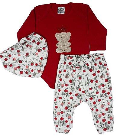 Conjunto Bebê Body Urso + Calça E Bandana Estampada