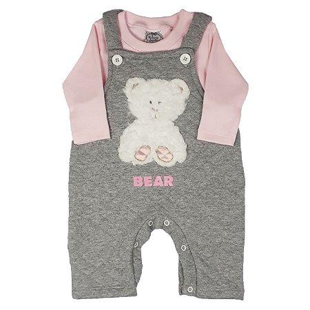 Jardineira Bebê Bear Rosa