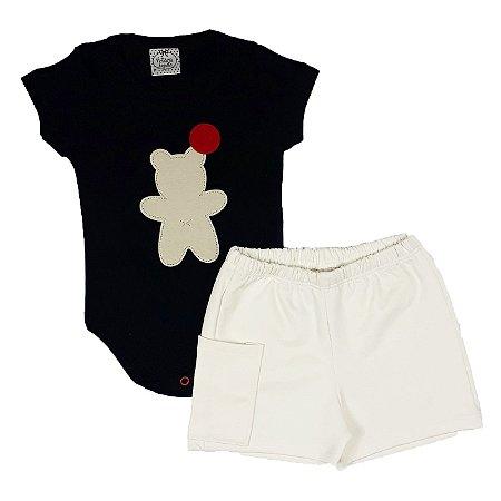 Conjunto Bebê Body Urso + Shorts Bege