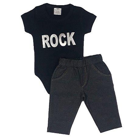 Conjunto Bebê Body Rock + Calça Jeans
