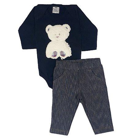 20cfdc87b Conjunto Bebê Body Urso + Calça Jeans - Victória Augusto - Roupas de ...