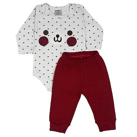 Conjunto Bebê Body Cachorro + Calça Vermelha