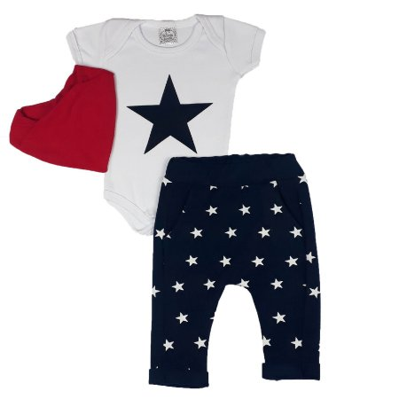 Conjunto Bebê Body E Calça Estrela Com Bandana