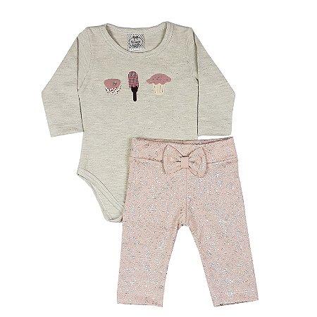 Conjunto Bebê Body Candy Com Calça Metalizada