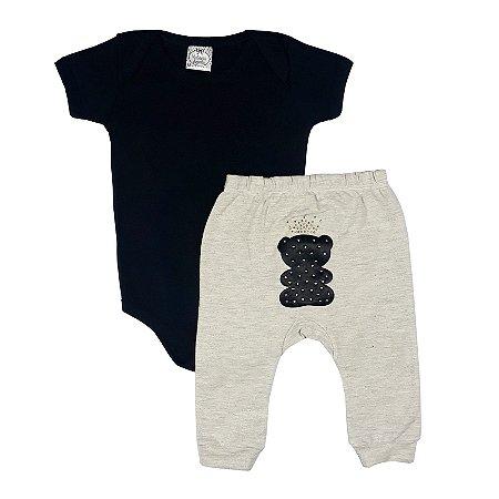 Conjunto Bebê Body Preto + Calça Urso