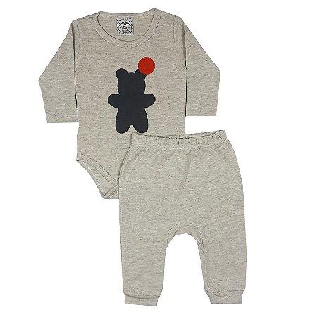 Conjunto Bebê Body Urso + Calça Saruel