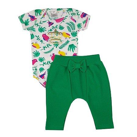 Conjunto Bebê Body Tropical + Calça Saruel Verde