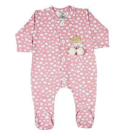 Macacão Bebê Coração Rosa