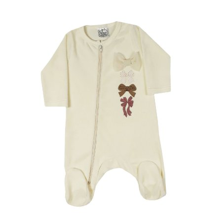 Macacão Bebê De Plush Com Laços Amarelo