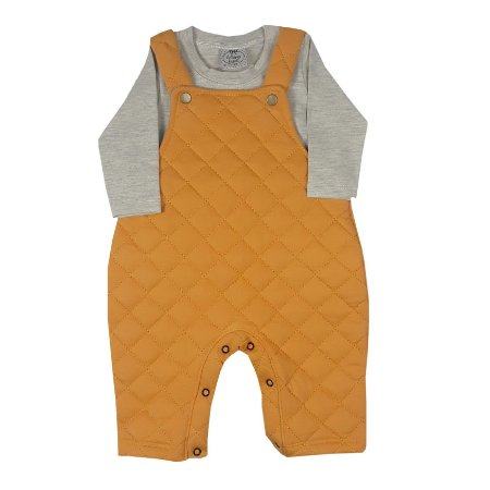 Jardineira Bebê Matelace + Camiseta Básica Cinza