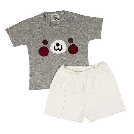 Conjunto Bebê Camiseta Cachorro + Bermuda