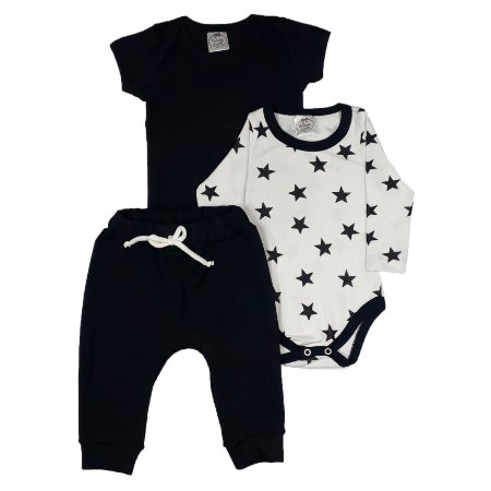 Conjunto Bebê 3 Peças Preto E Branco