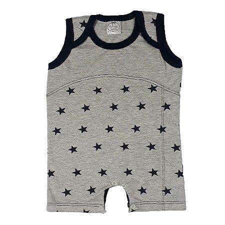 Macacão Bebê Estrelas Cinza