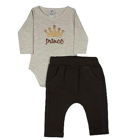 Conjunto Bebê Body Prince + Calça Saruel Marrom