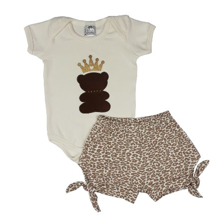 Conjunto Bebê Body Urso + Shorts Oncinha