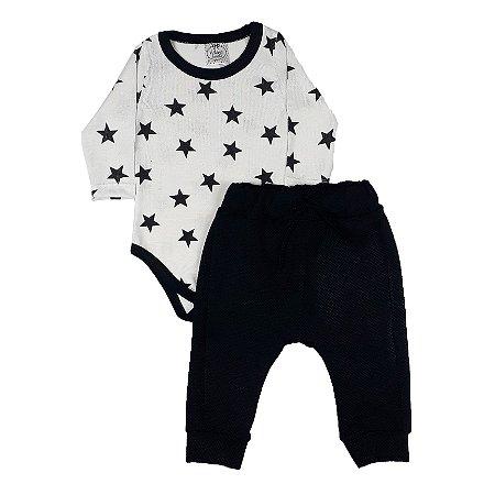 Conjunto Bebê Body Estrelas Branco + Calça Saruel