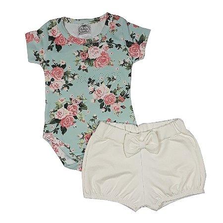 Conjunto Body Rosas + Shorts Lacinho