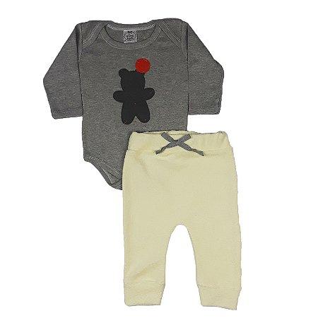 Conjunto Bebê Body Urso + Calça Saruel Amarela