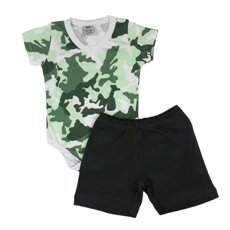 Conjunto Bebê Body Camuflado + Shorts Verde Escuro