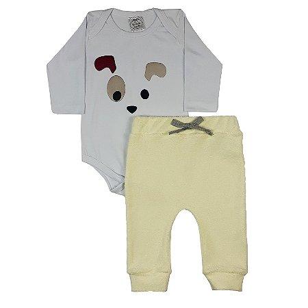 Conjunto Bebê Body Dog + Calça Amarela