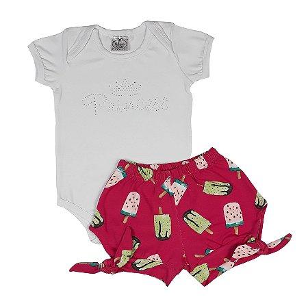 Conjunto Bebê Body e Shorts Picolé
