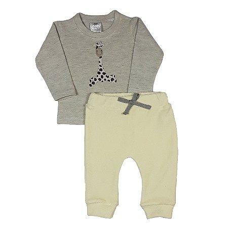 Conjunto Bebê Camiseta Girafa + Calça Amarela