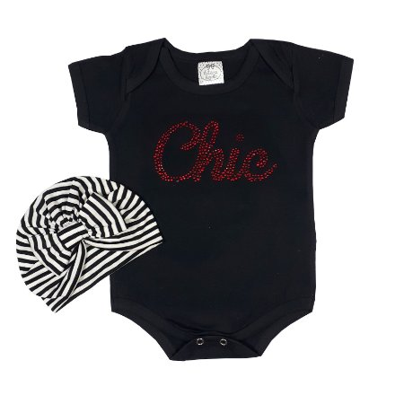 Body Bebê Preto Chic + Turbante Listrado