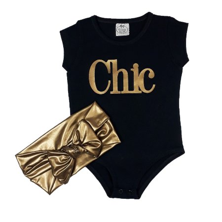 Body Infantil Chic + Turbante Dourado