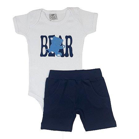 Conjunto Bebê Body Bear Branco + Shorts Azul Marinho