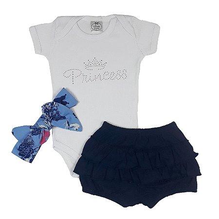 Conjunto Bebê Body Princess Branco + Shorts Babadinho + Turbante Floral