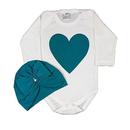 Body Bebê Coração + Turbante
