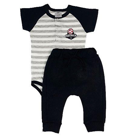 Conjunto Bebê Body Listrado + Calça Saruel Preta