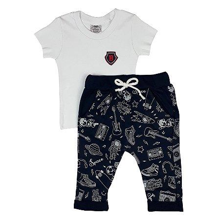 Conjunto Bebê Camiseta Básica + Calça Universo