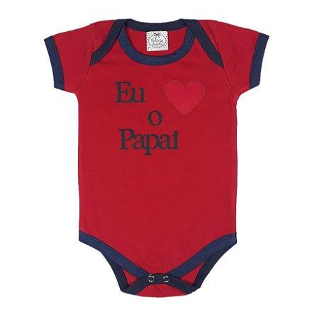 Body Bebê Amo O Papai Vermelho