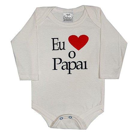 Body Bebê Amo O Papai Bege