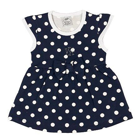 Vestido Bebê Bola Azul Marinho